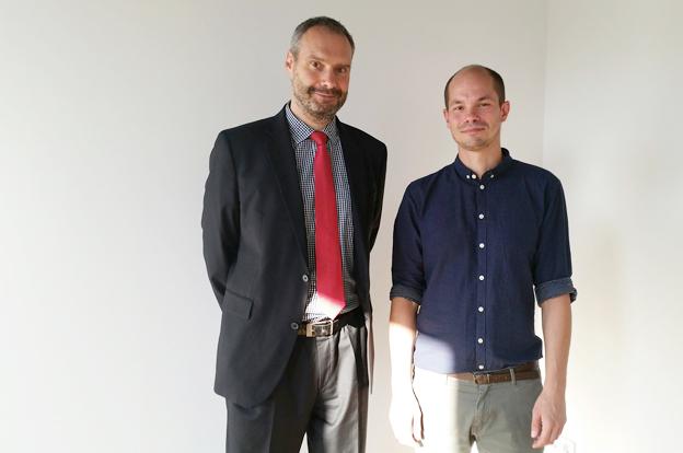 Roy J. Noack, Bauherr und Geschäftsführer des Immanuel Krankenhauses Berlin mit Architekt Gunnar Schmidt